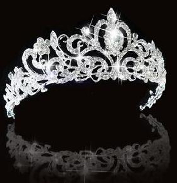 Bridal Princess Austrian Crystal Hair Tiara Wedding Crown Veil Headband