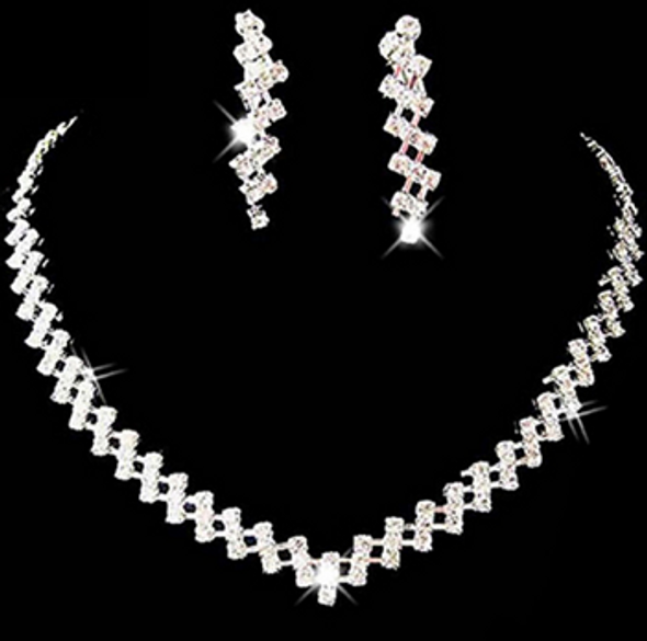 Bridal Crystal Rhinestone Diamante Necklace & Earring