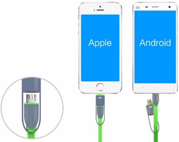 2 in 1 USB Charging cable for iPhone and Android - 1M Long