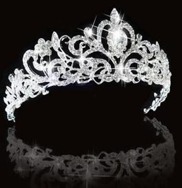 Bridal Princess Austrian Crystal Hair Tiara Wedding Crown Veil Headband