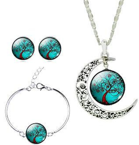 Life Tree Cabochon Pendant Necklace Bracelet Earrings