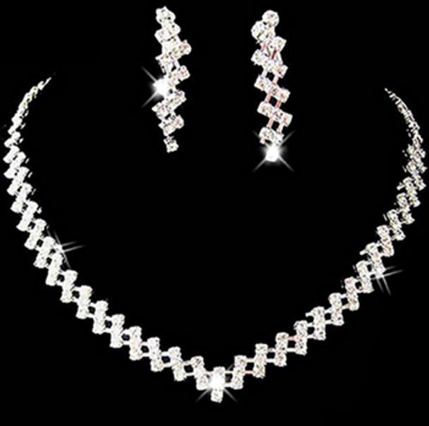 Bridal Crystal Rhinestone Diamante Necklace & Earring