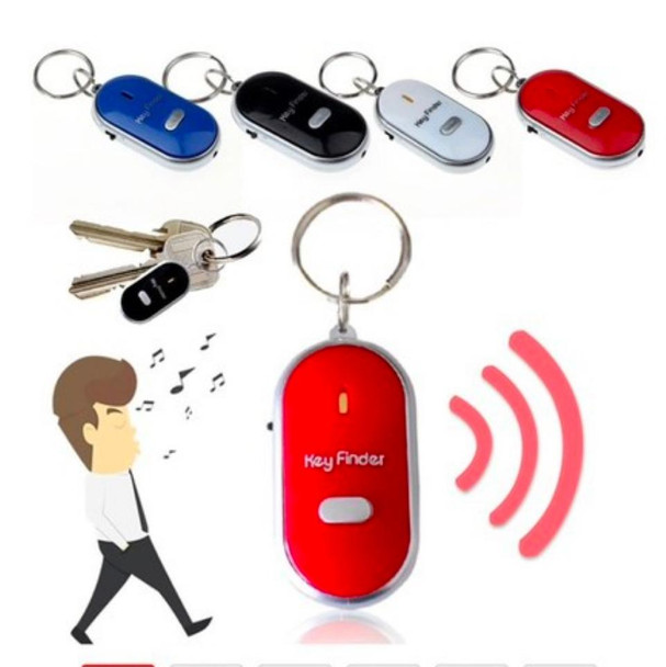Sound Control Lost Key Finder Locator Keychain LED Light Torch Mini Portable Whistle Key Finder