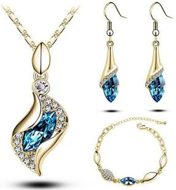 Austrian Crystal Drop Jewelry Set for Women