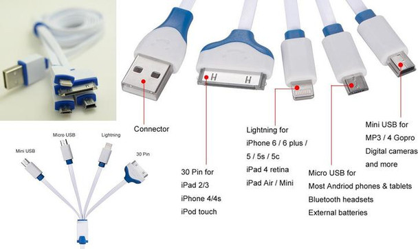 4 in1 Multi Device Charging Cable