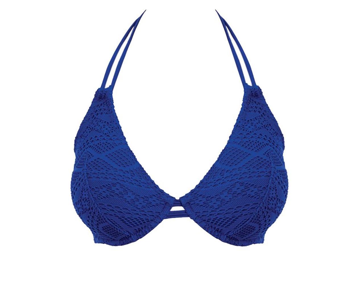 0cbaa6783532c Freya Sundance AS3971 W Underwired Bandless Halter Bikini Top Cobalt ...