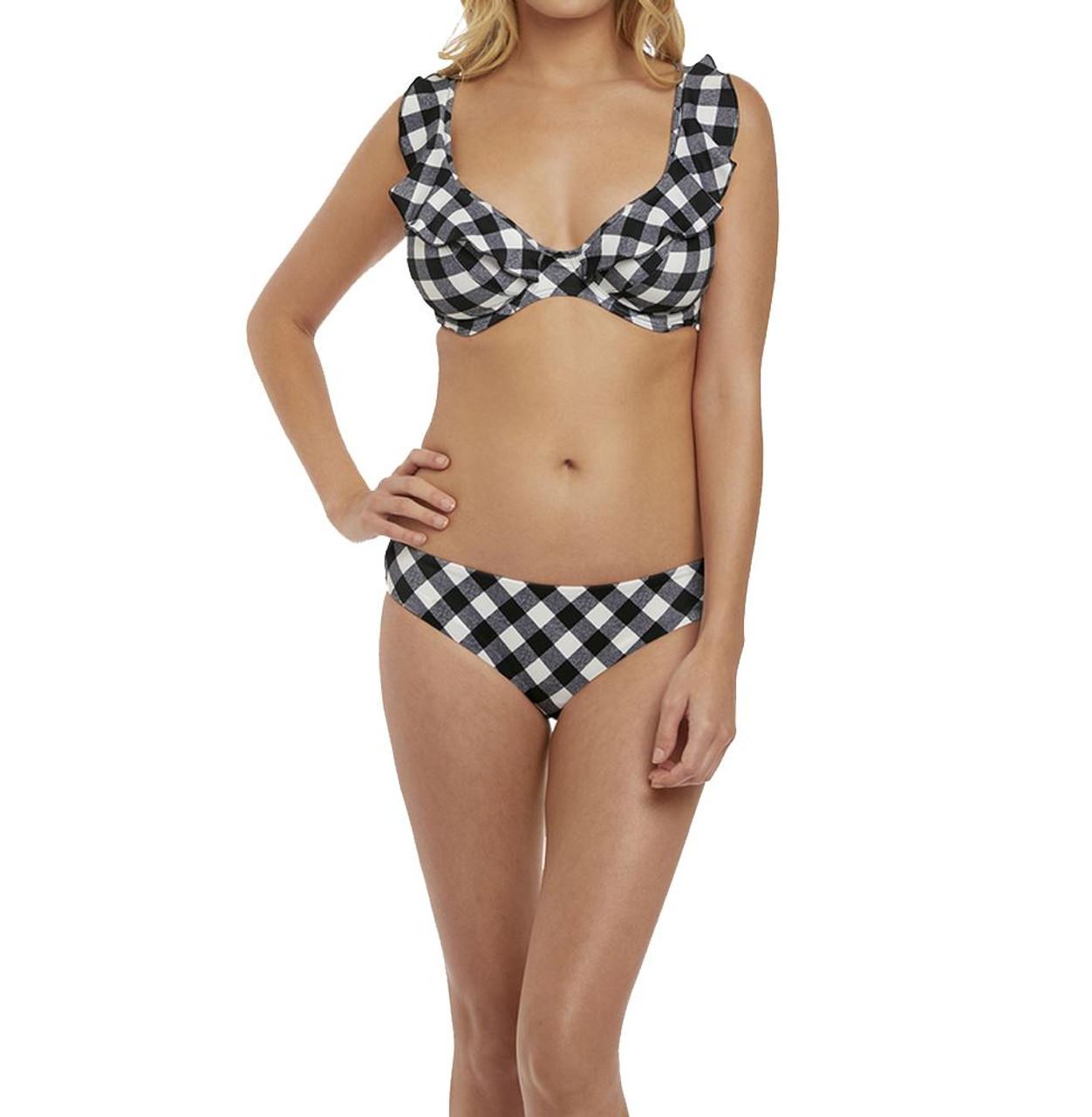 Freya Totally Check AS2924 W Underwired Halter Bikini Top Monochrome 34 H CS