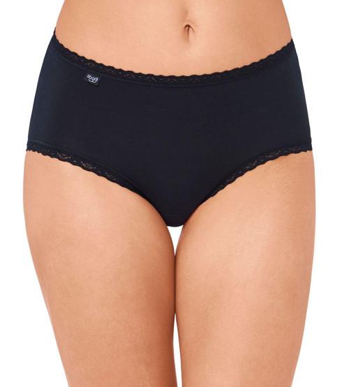 Sloggi Women 24/7 Cotton Lace Midi Briefs (0004) Black CS