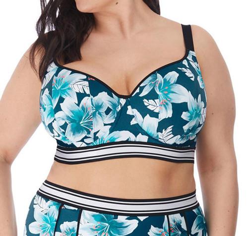 Elomi Island Lily ES7223 W Underwired Sweetheart Crop Bikini Top Petrol CS