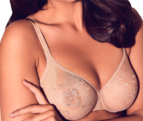 Gossard Glossies Lace 13001 Underwired Sheer Bra With Side Sling Nude CS
