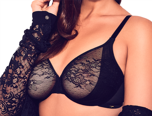 Gossard Glossies Lace 13001 Underwired Sheer Bra With Side Sling Black CS