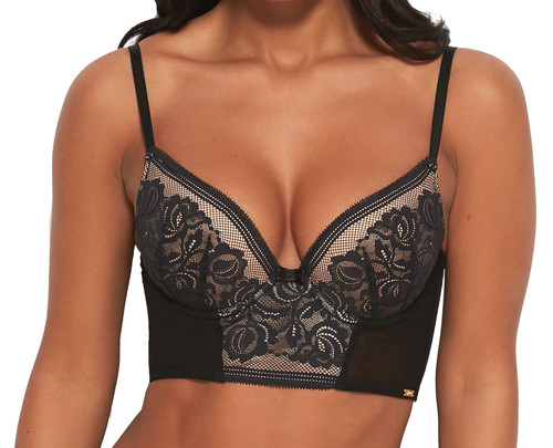 Gossard Encore 15608 Underwired Padded Longline Bra Black/Nude CS