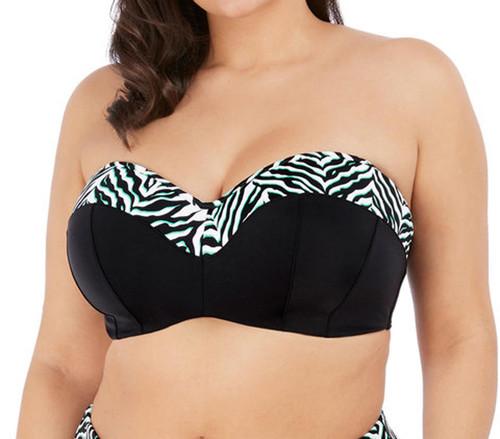 Elomi Zulu Rhythm ES7253 Underwired Padded Bandeau Bikini Top Black CS