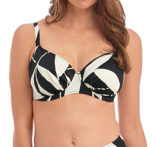 Fantasie Ile De Re FS500901 Underwired Gathered Bikini Top Black & Cream CS