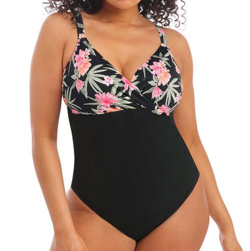 Elomi Dark Tropics ES800145 Non-Wired Moulded Wrap Swimsuit Black CS