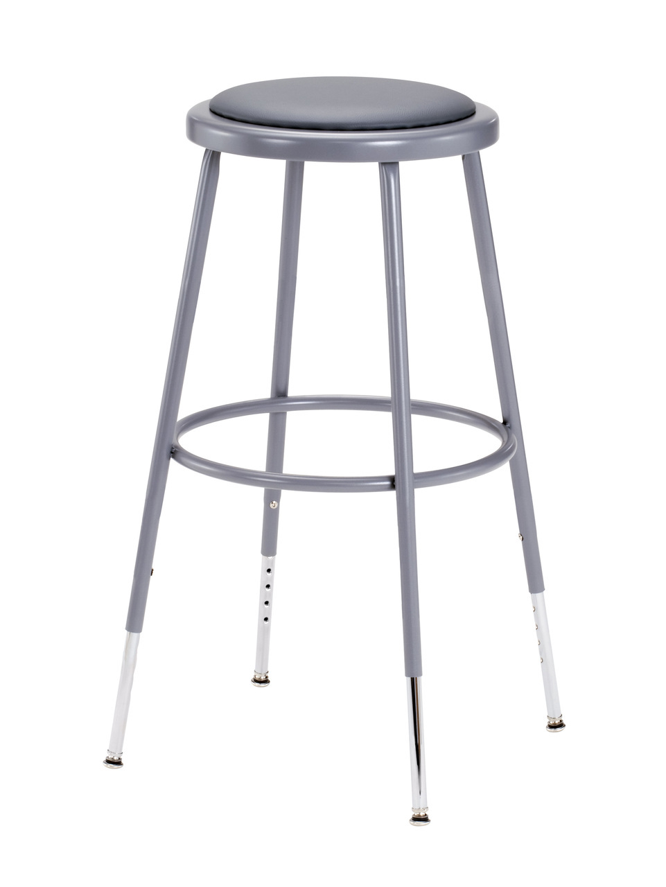 6424h Adjustable Stool With Grey Padded Seat L Affordable Adjustable
