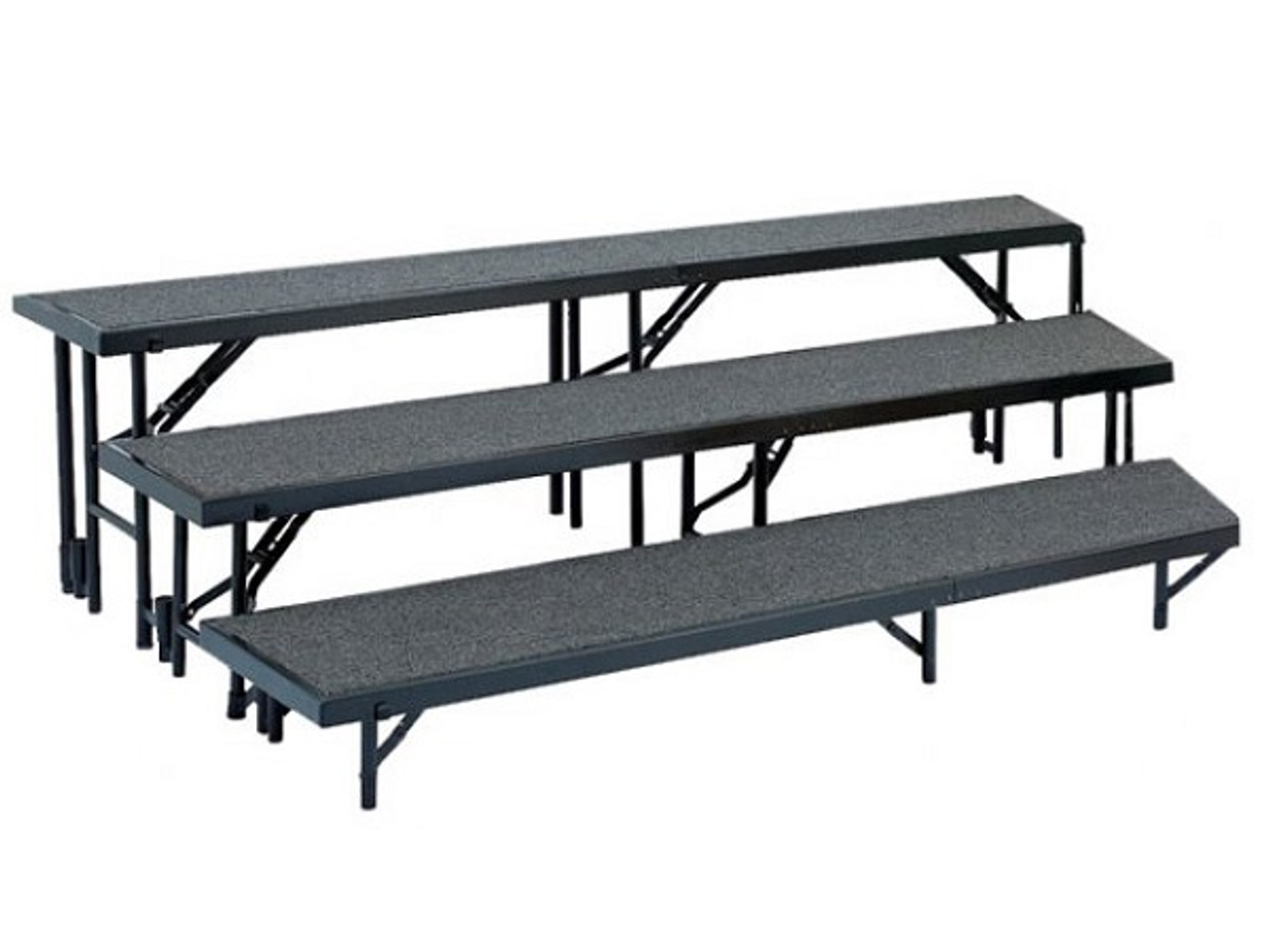 National Public Seating Rt3lc 3 Level Tapered Risers With Carpet L Affordable Risers National Public Seating Products