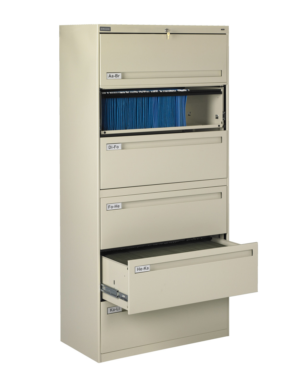Tennsco Lpl4272l60 Combination 4 Fixed And 2 Retractable Drawer Lateral File 42x18x77