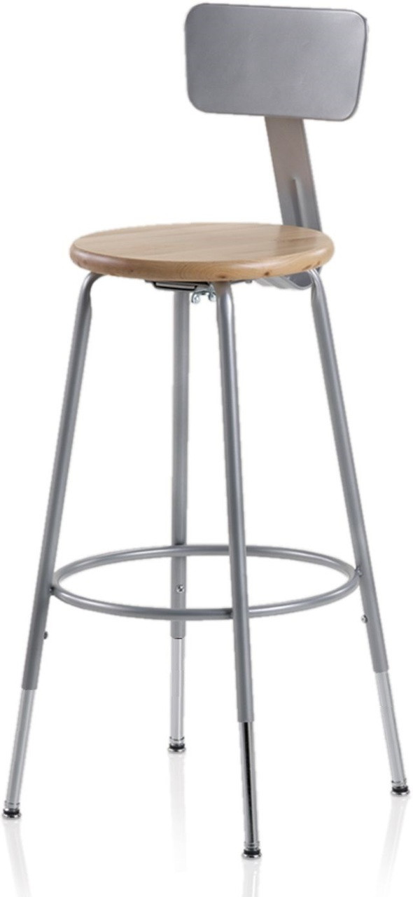 Ki 624bw Industrial 24 Inch Wooden Seat Stool With Backrest L