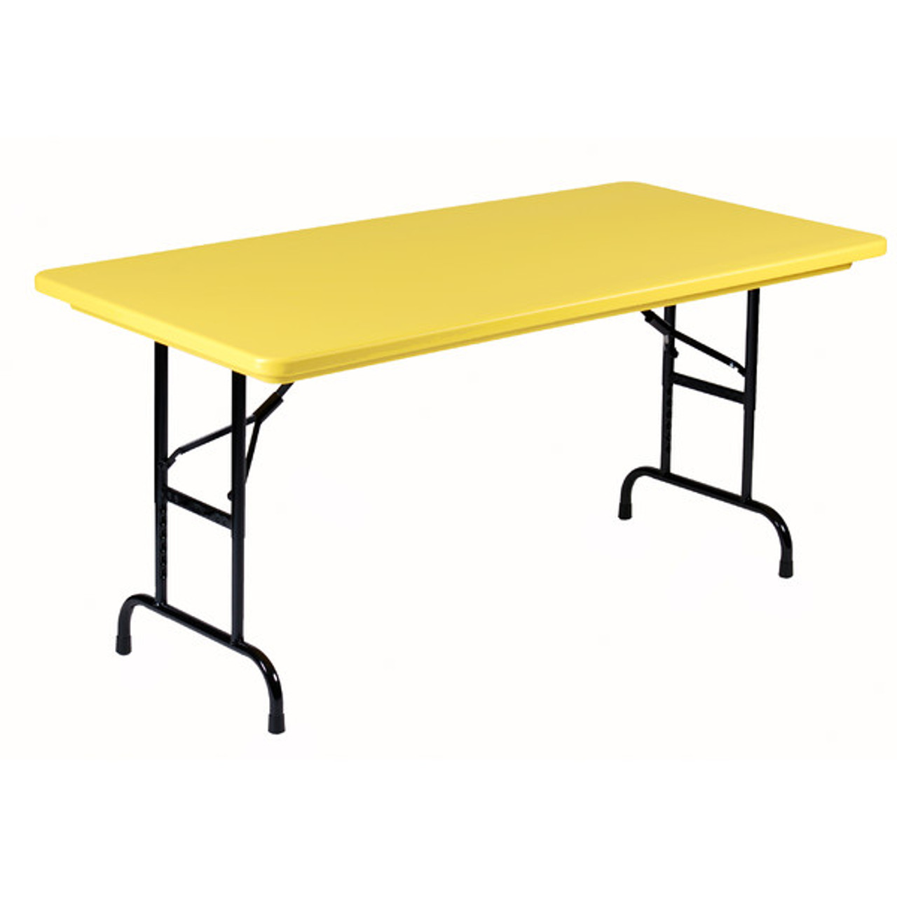 30 X 60 Folding Table.Correll Ra3060 28 Heavy Duty Plastic Folding Table Yellow 30 W X 60 L Adjustable Height