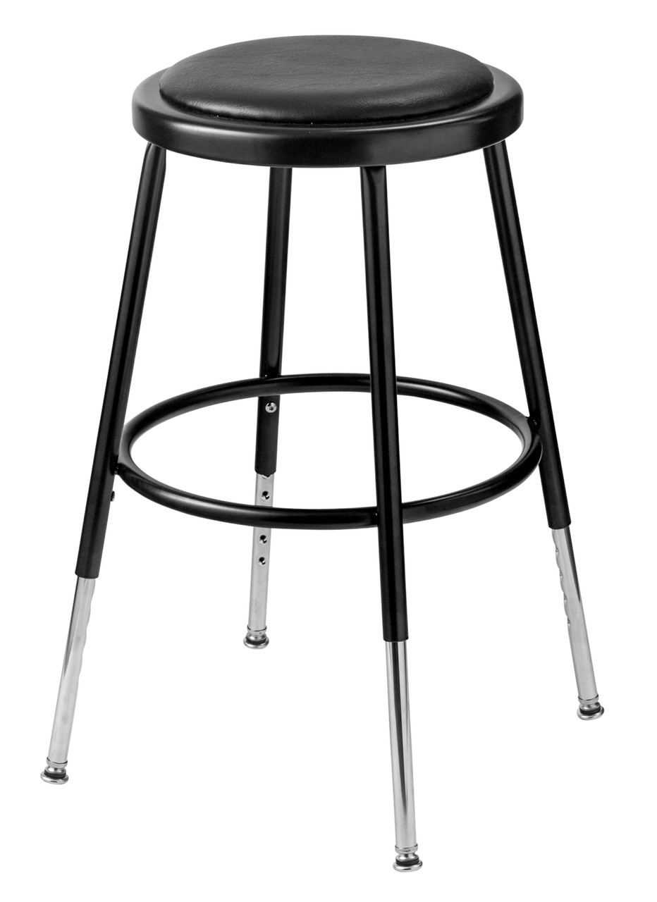 National Public Seating 6418h 10 Adjustable Round Stool With Black