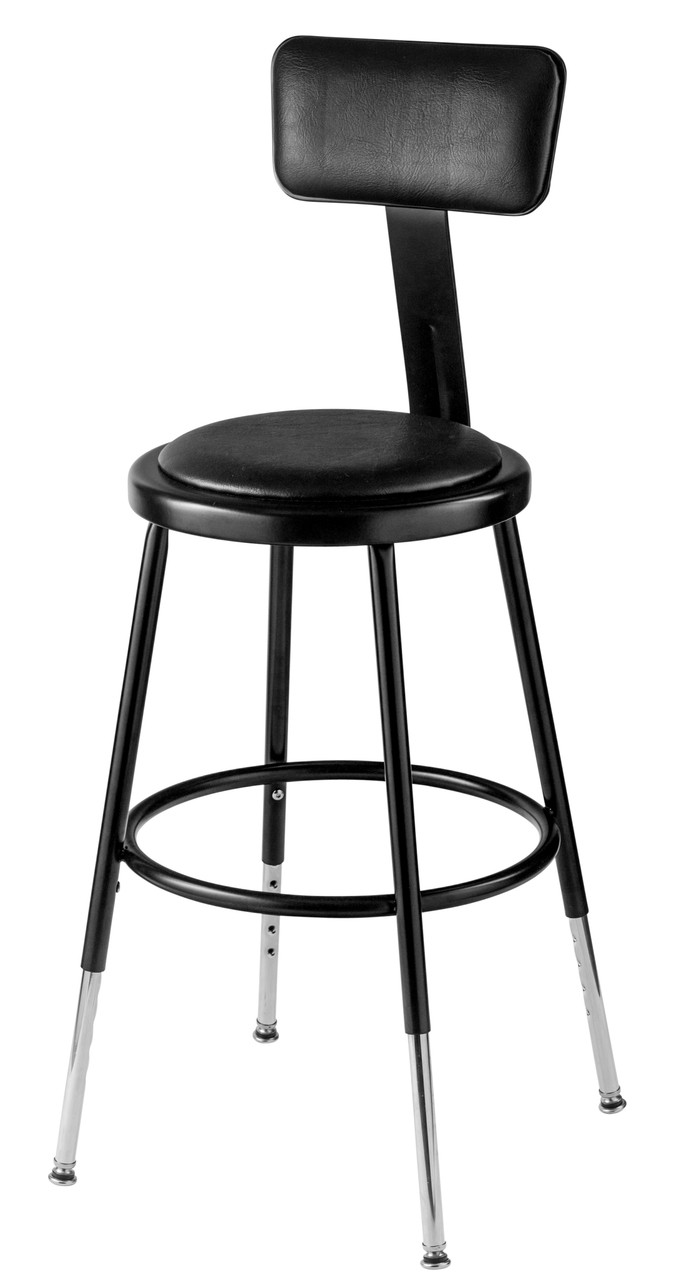 6418hb 10 Adjustable Round Stool With Black Padded Seat And Backrest