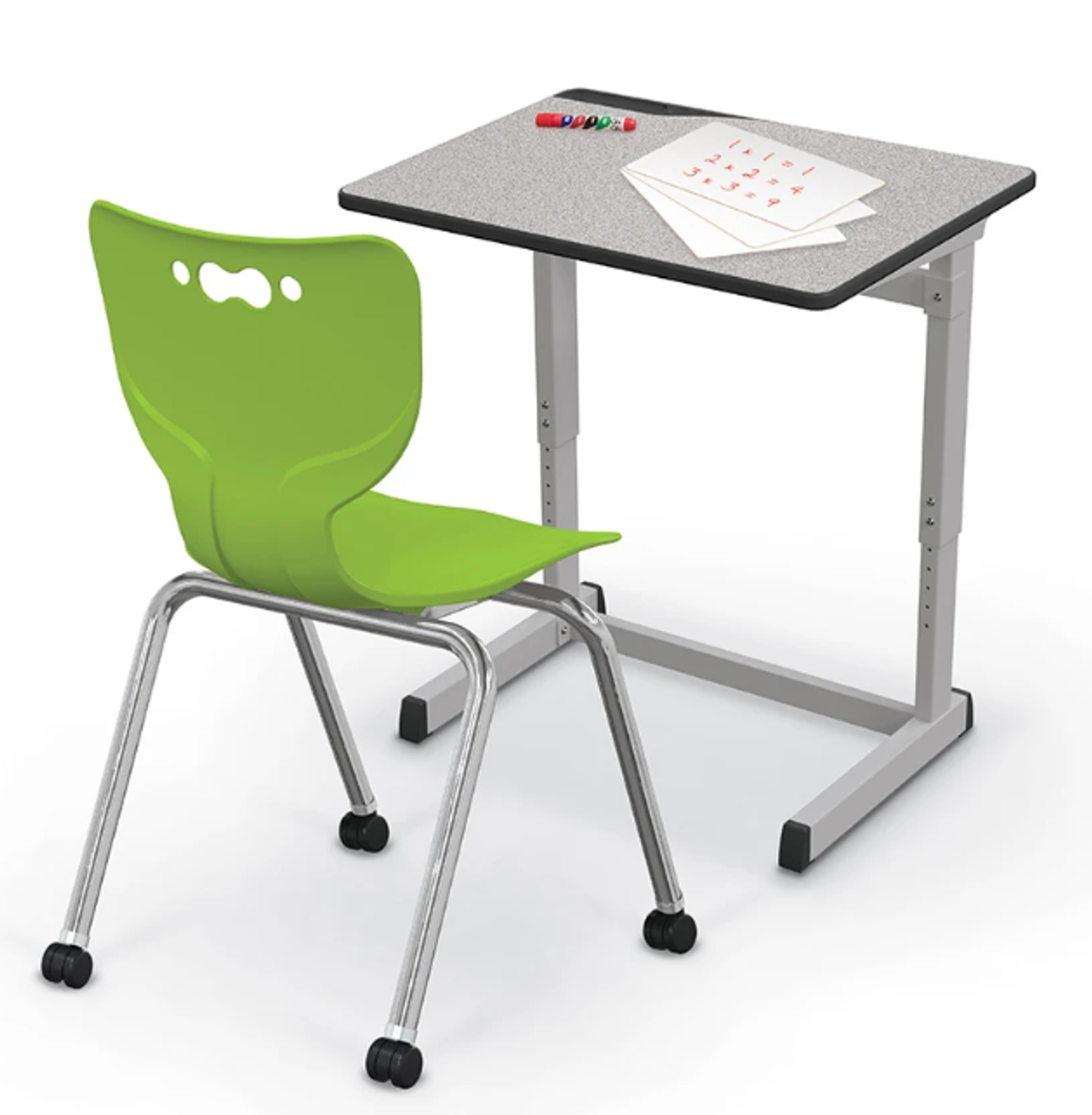 Balt 42H Bundle Essential Silverwood Student Desk with Hierarchy Caster  Chair and Lap Boards
