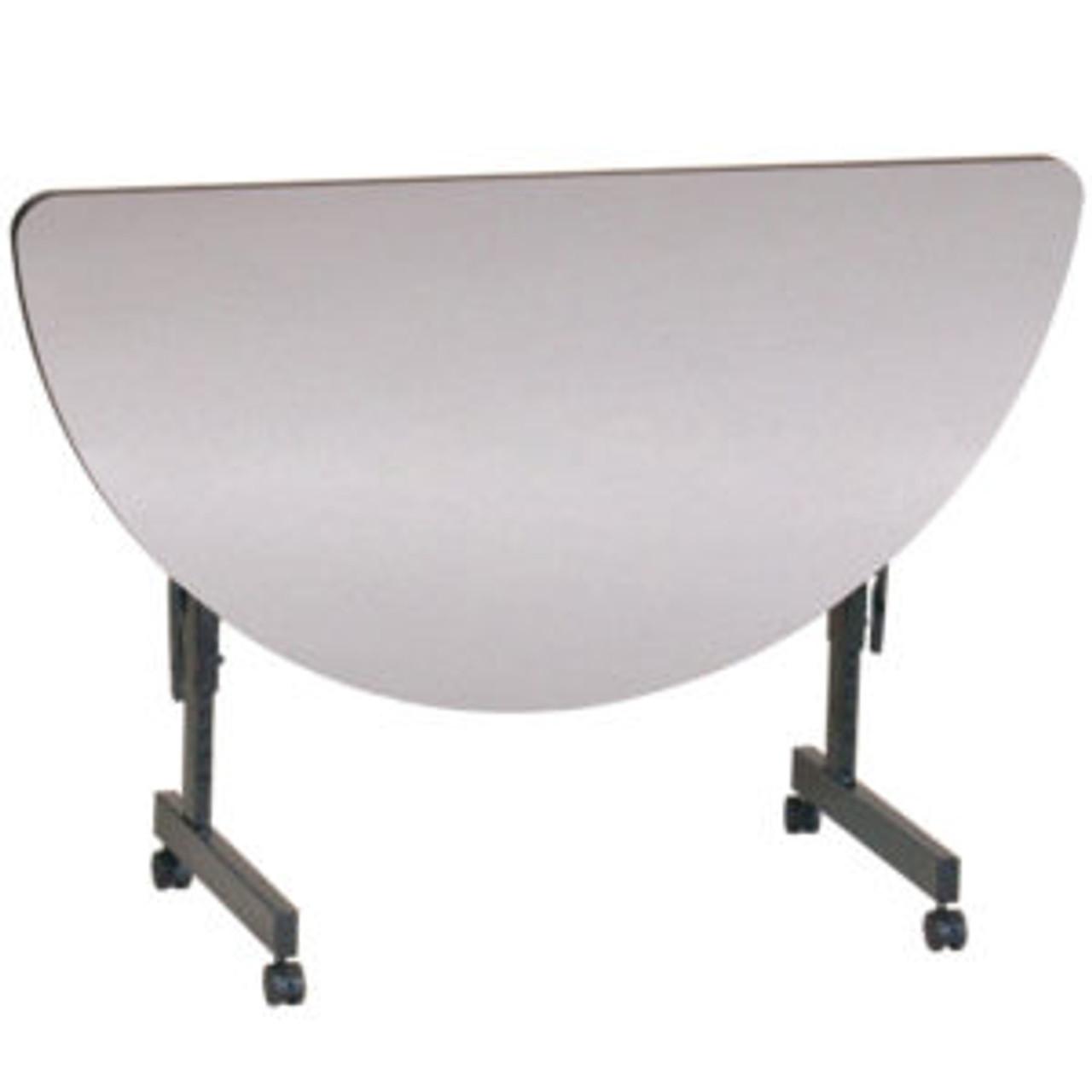 Walnut Melamine Half Round Top 24 x 48 Correll FT2448MR-01 EconoLine Flip Top Table Adjustable Height