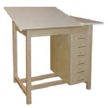 ea6319fde561 Hann WD-61 Two Section Drawing Table with 6 Drawers 42x30 Split Adjustable  Top