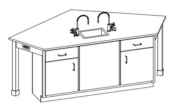 Hann WSB-2222R Laboratory Wall Service Bench With Epoxy Resin Top 24
