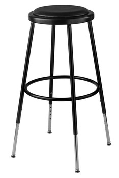 National Public Seating 6424 10 Round Stool With Black Padded Seat
