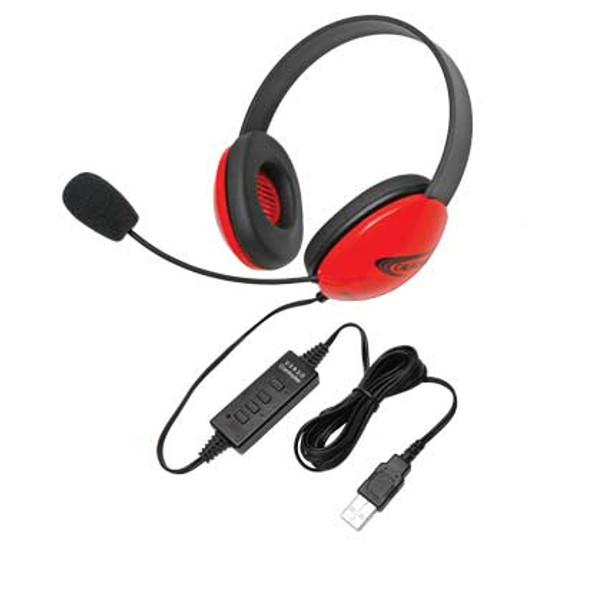 Califone 2800RD-USB Listening First Stereo Headsets Red with USB Plug