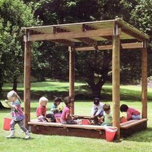 Big Toys EC-100 Wood Sun Shelter Sandbox