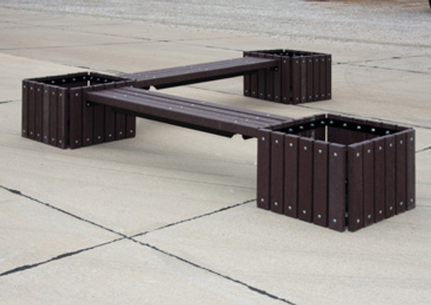 UltraSite 993 Recycled Plastic Bench with Three Planters