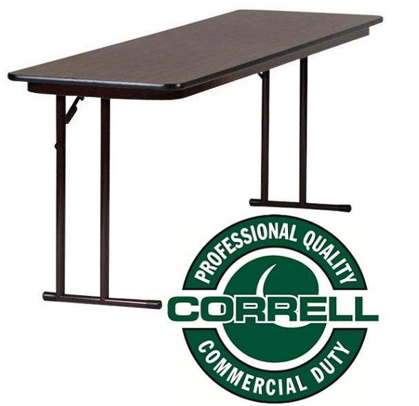 ST2496PX Pressure Laminate Top Off Set Leg Folding Seminar Table 24 W x 96 L Fixed Height