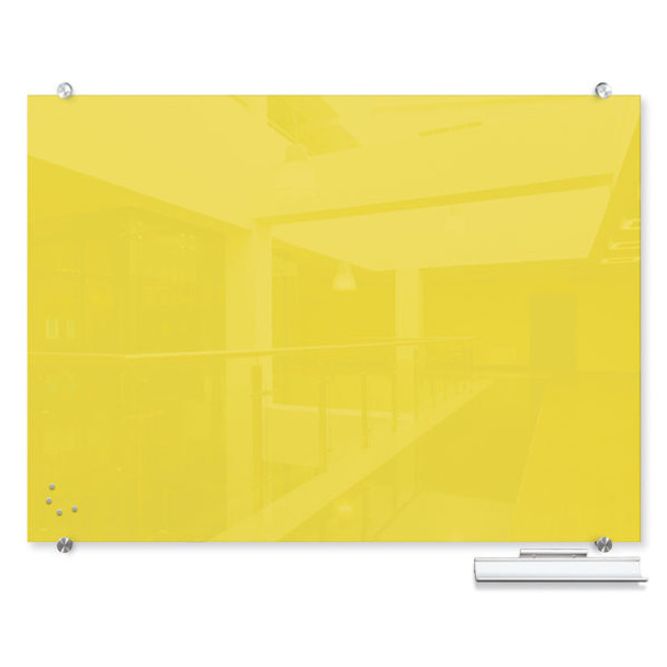 Balt 83844 Visionary Colors Wall Mounted Magnetic Glass Dry Erase Board 3 x 4 Yellow