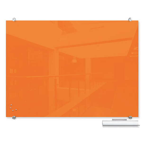 Balt 83845 Visionary Colors Wall Mounted Magnetic Glass Dry Erase Board 4 x 6 Orange