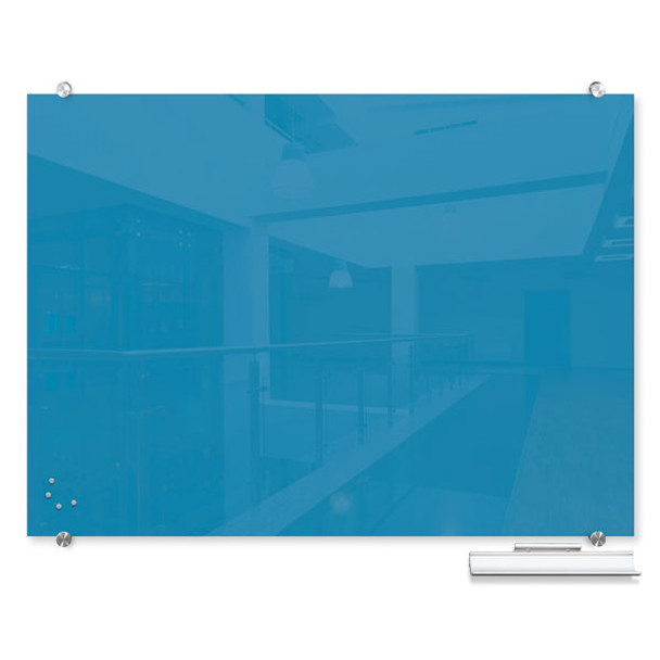 Balt 83846 Visionary Colors Wall Mounted Magnetic Glass Dry Erase Board 4 x 8 Blue