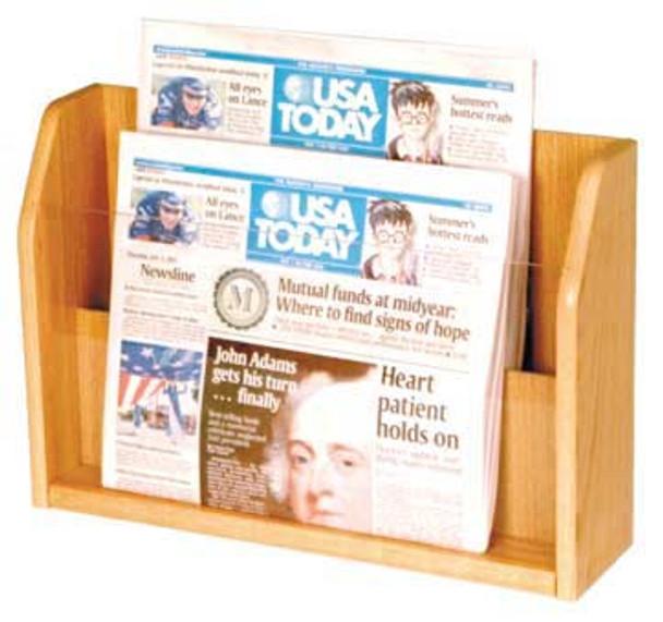 Wooden Mallet PT-1 Countertop Newspaper Display 2 Pocket