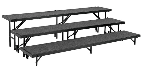 National Public Seating RS3LC 3 Level Straight Risers with Carpet