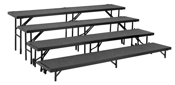 National Public Seating RS4LC 4 Level Straight Risers with Carpet