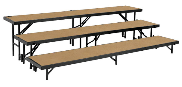 National Public Seating RS3LHB 3 Level Straight Risers with Hardboard Deck