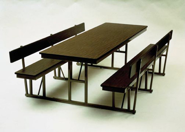 Barricks WB-30-8-P 30 x 96 Rectangular Cafeteria Table with Back