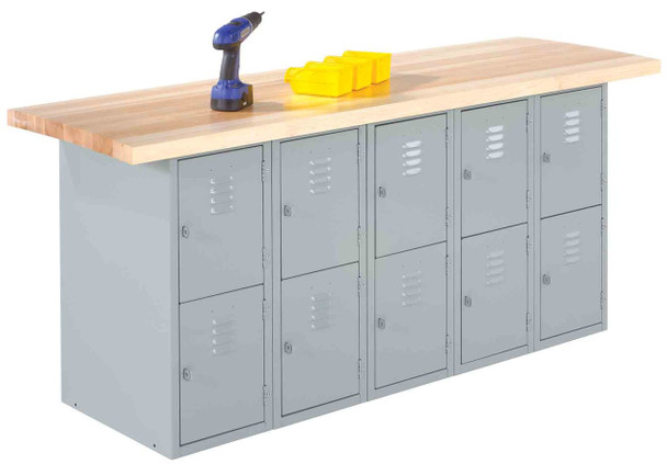 Shain MA6-10L Wall Bench with Eighteen Vertical Lockers