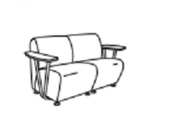 Community EN9202W Encore Two Seat with Open Support Wood Arm