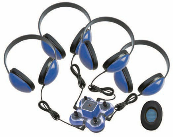 Califone 1114BL-4 Mini Stereo Jackbox with Four Headphones Blue