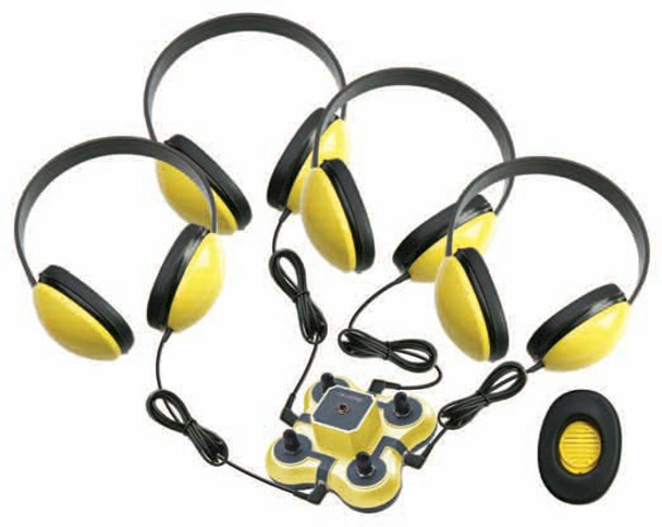 Califone 1114YL-4 Mini Stereo Jackbox with Four Headphones Yellow