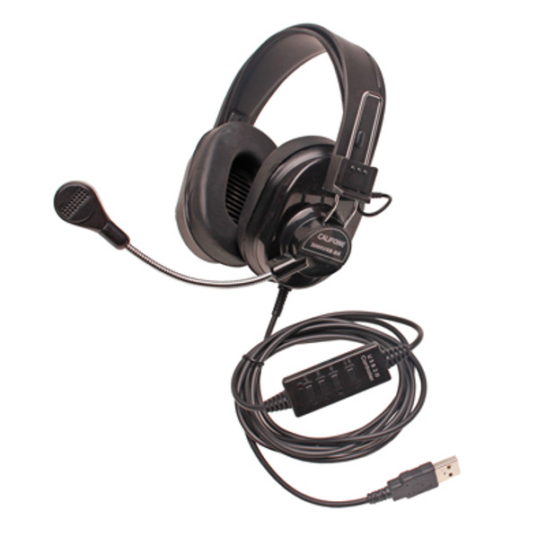 Califone 3066USB-BK Deluxe Multimedia Stereo Headsets Black