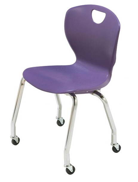 Scholar Craft SC3118-C Ovation Contemporary Style Four Leg Stack Chair 18 inch Seat Height with Casters