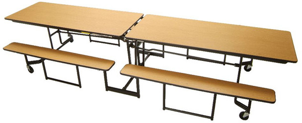 Mitchell Furniture Systems NP12 Full Benches with Black Powder Coated Frame 12 Feet Long